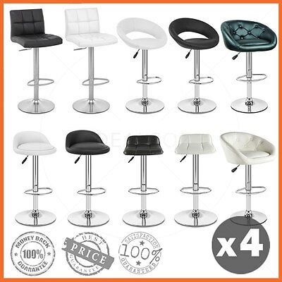 4 X New PU Leather Bar Stool Kitchen Chair Gas Lift Adjustable Black White