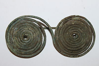 RARE ANCIENT GREEK SAMNITE BRONZE SPECTACLE BROOCH 4/3rd CENTURY BC