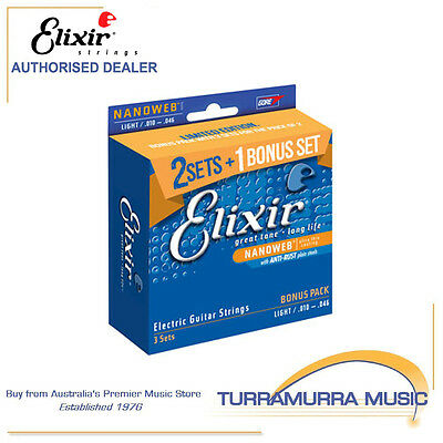 Elixir Electric Guitar Strings with NANOWEB coating - Value 3 Pack