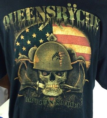 QUEENSRYCHE AMERICAN SOLDIER TOUR 2009 Men's XL HEAVY METAL T- SHIRT Two Sided