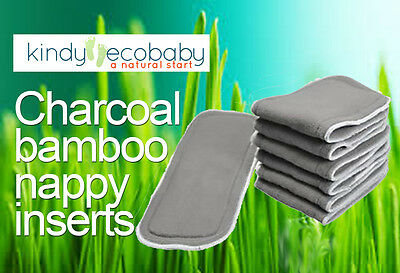 12 Bamboo Charcoal & Microfibre LINER/INSERTS/BOOSTERS for Cloth Reusable NAPPY