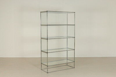 Modular Bookcase Chromed Metal Glass on Shelves and Sides Vintage Italy 1970s