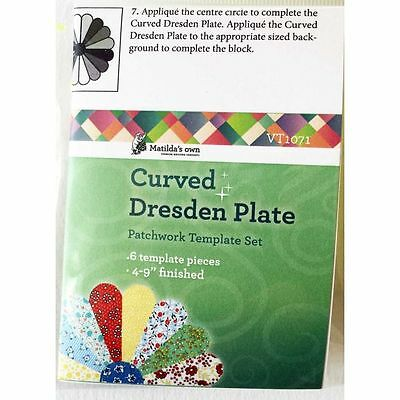 """Matilda's Own Miniature Curved Dresden Plate 4"""" to 9"""" Patchwork Template Set"""