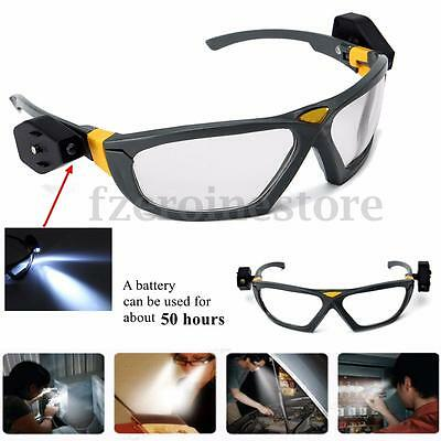 Sport Safety Cycling Glasses Anti-fog Clear Lens Eye Protective Goggles 2 Lights