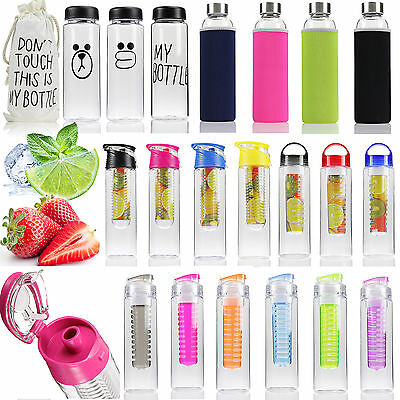 800ML Fruit Infusion Infusing Infuser Water Bottles Sports Health Maker Flip Lid
