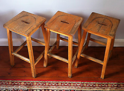 Old Vintage Solid Wood Lab Stools With Hand Slots Industrial 14 available MCM