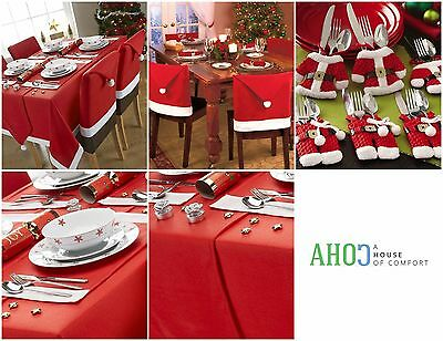 Christmas Table Cloth Xmas Decoration Dinner Chair Cover Cutlery Santa Placemat