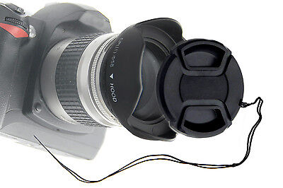 58mm Screw-in Sun Shade hood + Snap-on Cap w/ leash for Canon EOS 18-55mm Lens
