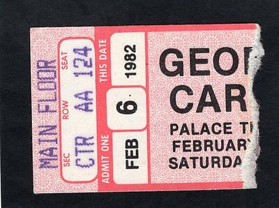 1982 George Carlin Comedy Show Concert Ticket Stub