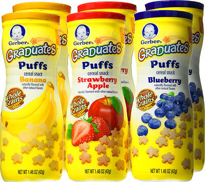 Gerber Graduates Puffs Cereal Snack Baby Food Naturally Flavored 6 Pack