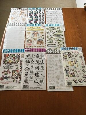 Job Lot Of 10 Sheets Various : E-Z Rub-On Transfers Sheet (Decal) ~ New