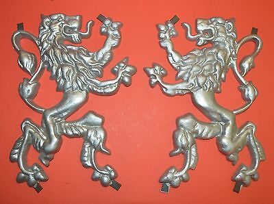 Pair O' Scottish Fighting Lion Plaque ,Shield, Crest, Cast Aluminum