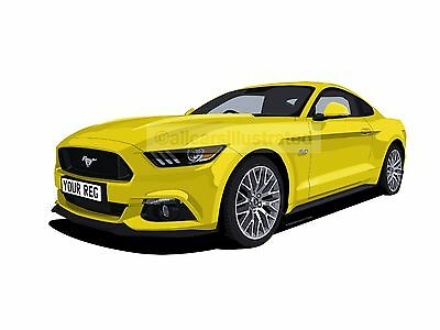 Ford Mustang Car Art Print (Size A4). Personalise It!