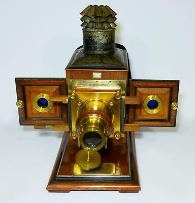 Victorian mahogany-cased magic lantern, great history