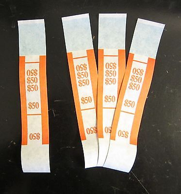 100 Self Sealing Orange $50 Currency Straps Money Bill Bands $50 Pmc Brand Strap