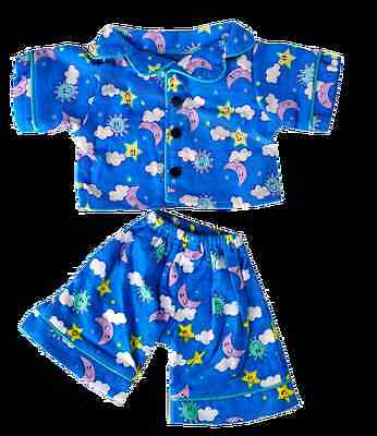 """Teddy Bear Clothes Blue PJs pajama outfit to fit 8"""" build a bear factory teddies"""