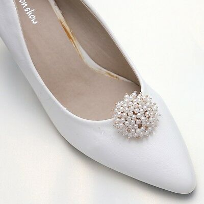 Ivory Faux Pearl Gold Tone Beads Bridal High Heel Bow Shoe Clips Decoration