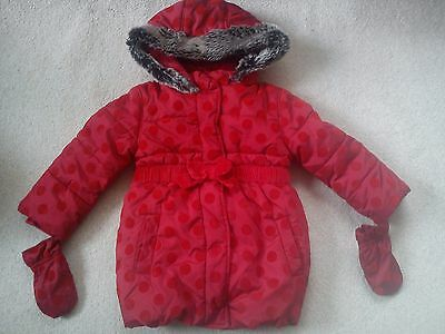 Amazing Autumn Winter M&s Fur Girl Jacket Coat 2/3 Yrs With Gloves (0.6)