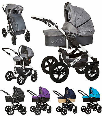Baby Pram Pushchair Buggy Stroller + Carrycot + Car Seat Travel System 3 in 1 ++