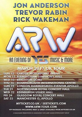 Yes - Anderson, Rabin, Wakeman UK Tour Dates 2017 - A4 Photo Print