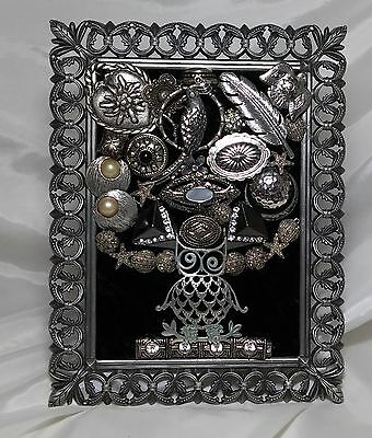 Vintage Jewelry Beautiful  Pewter Framed Owl & Feathers Art Tree Christmas Gift