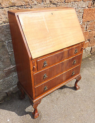 VINTAGE Mahogany BUREAU Drop FRONT Writing SLOPE Ball + CLAW Feet BRASS Handle
