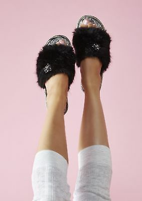 Naomi by Pretty You London - Ladies Faux Fur Slip-on Slippers with Diamantes