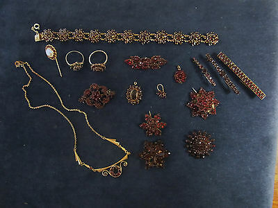Antique Vintage Victorian Bohemian Germany Garnet Jewelry Lot 17  #M