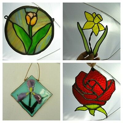Stained Glass Suncatchers Lot of four Floral Daffodil Rose Crocus Tulip Flowers