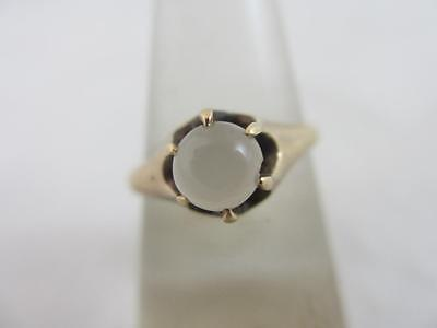 Cabochon moonstone in 9k / 9ct gold ring size UK M+ antique victorian tbj00644