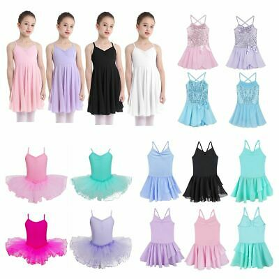 Girls Gymnastics Leotard Dress Ballet Leotard Dance Tutu Skirt Dancewear Costume