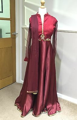 Beautiful Maroon And Gold Indian Anarkali Dress