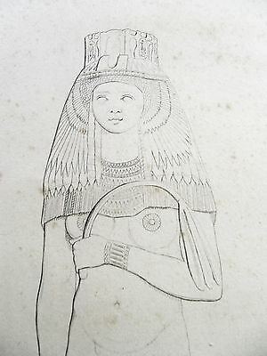 Isis Egyptian Goddess/fine Engraving Of A Statue/book Plate/ Franc Garzoli