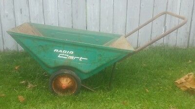 Vintage Radio Flyer Cart Lawn Garden Farm WheelBarrow Rustic Decor ANTIQUE green