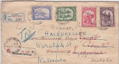 Stamps Belgian Congo various on cover sent registered to Australia, re-directed