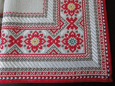 Gorgeous Vintage Hand-Emroidered Multi-Color Linen Tablecloth