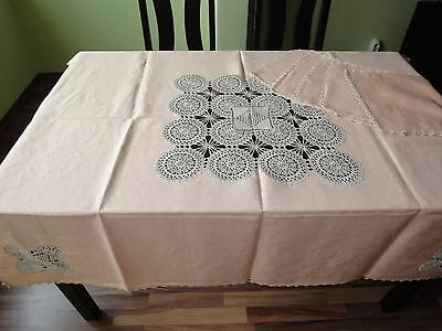 Vintage Handmade Linen Pink Set Tablecloth with 5 Placemats Cotton Crochet Lace