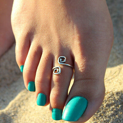 vintage style Retro Silver Infinity Lucky Toe Ring Adjustable Foot Beach Jewelry
