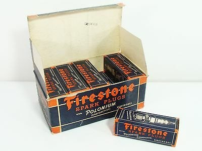 Box of 10 Vintage 1940's New Old Stock NOS Firestone M-100-C Spark Plugs