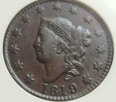 1819/8  Us Large Cent, Anacs Vf35 Tough To Find !!!!!!!!!!