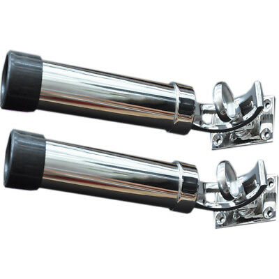 (Lot of 2) Deck-Mount Adjustable Removable Fishing Rod Holder 316 Stainless