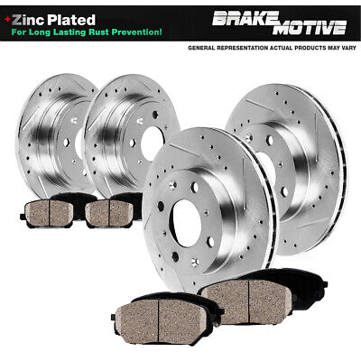 Fit 1998-2002 Honda Accord Front Rear Sport Drill Slot Brake Rotors+Ceramic Pads