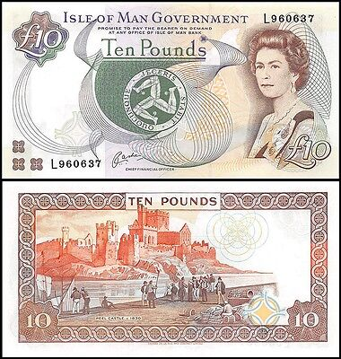 Isle of Man 10 Pounds, 1983, P-42, UNC, Queen Elizabeth II (QEII)