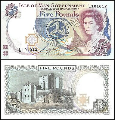 Isle of Man 5 Pounds, 1983, P-41b, UNC, Queen Elizabeth II (QEII)