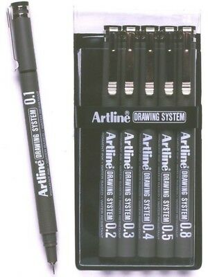 Artline 230 Black Drawing System Pens 6 Nib Sizes (1-2-3-4-5-8) FREE  POST