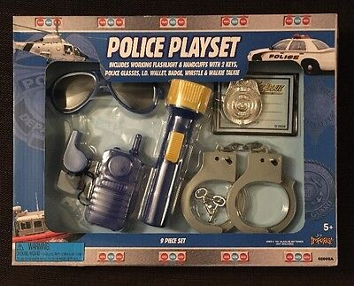 Imperial Toy POLICE PLAYSET Halloween Costume Real Flashlight Handcuffs Whistle