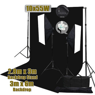 Photo Studio 3x6m Screen Backdrop 2750W Softbox Lighting Background Stand Kit AU