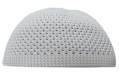 Plain White Open-Weave Nylon Medium Size Stetchy Kufi Hat Skull Cap.