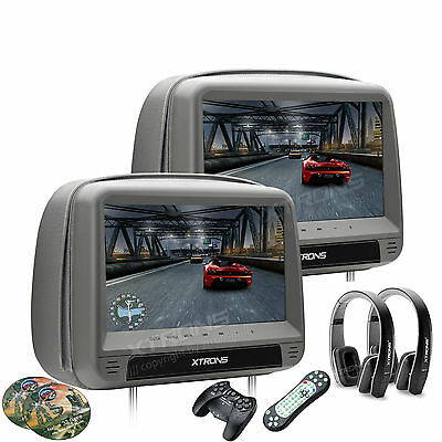 "1Pair 9"" HDMI LCD Touch Panel Headrest Monitors w/Car DVD Player/USB +Games Grey"