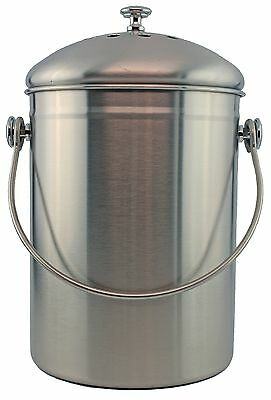 Stainless Steel1Gallon Compost Pail with Filter(Stainless){MagJo}(Carbon filter)